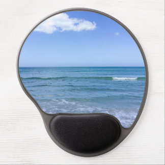 Beach Water Blue Sky White Clouds Background Ocean Gel Mouse Pad