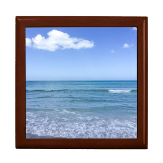 Beach Water Blue Sky White Clouds Background Ocean Gift Box
