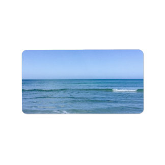 Beach Water Blue Sky White Clouds Background Ocean Label