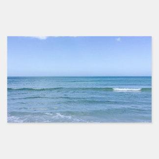 Beach Water Blue Sky White Clouds Background Ocean Rectangular Sticker