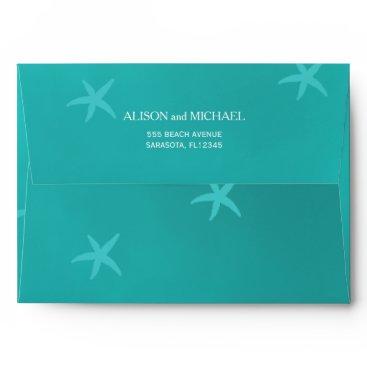 Beach Themed Beach water blue turquoise starfish wedding envelope