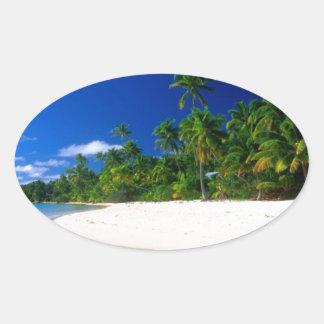 Beach Water Line Oval Sticker