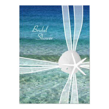 Beach Themed Beach Water Starfish Bridal Shower Invitation