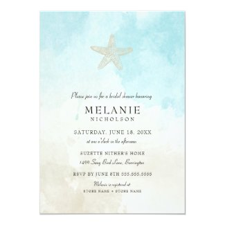 Beach Watercolor Bridal Shower Invitation