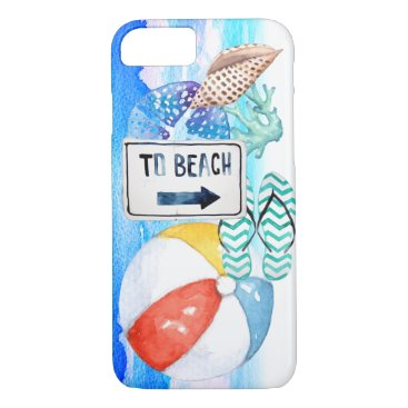Beach Themed Beach Watercolor Elements iPhone 7 Case