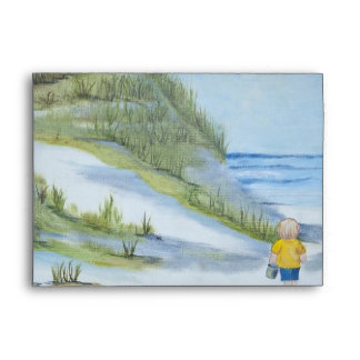 Beach watercolor envelope