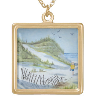 Beach watercolor gold plated necklace