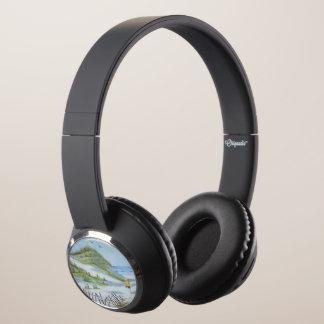 Beach watercolor headphones
