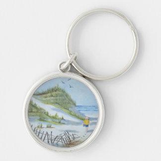 Beach watercolor key chain