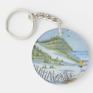 Beach watercolor Double-Sided round acrylic keychain