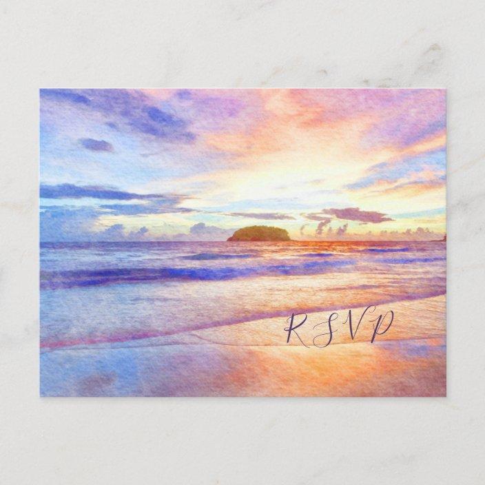 Pink Sunrise Rsvp Invitation Postcard