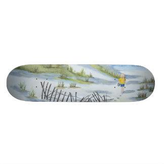 Beach watercolor skate board deck