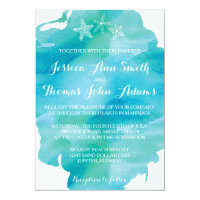 Beach Watercolor Starfish Ocean Wedding Invitation
