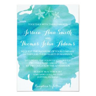Beach Watercolor Starfish Ocean Wedding Invitation