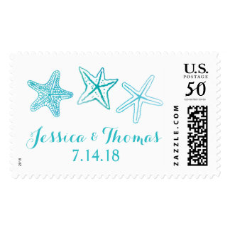 Beach Watercolor Starfish Ocean Wedding Stamps
