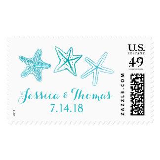 Beach Watercolor Starfish Ocean Wedding Stamps