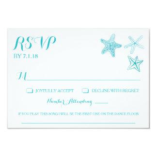 Beach Watercolor Starfish Wedding RSVP Card w/Song