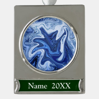 Beach watercolor swirls aqua blue white marble silver plated banner ornament