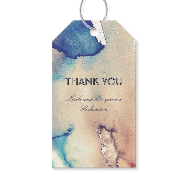 Beach Watercolors Vintage Wedding Gift Tags