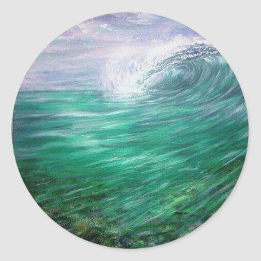 Beach Themed beach wave purple classic round sticker