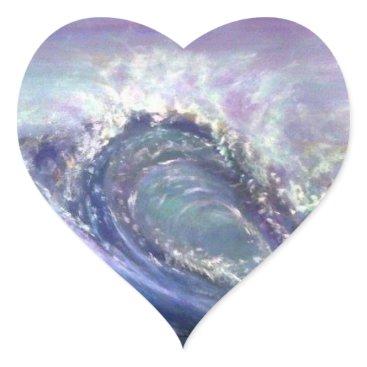 Beach Themed beach wave purple heart sticker