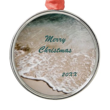 Christmas Themed Beach Wavelet Dated Metal Ornament