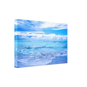 Beach Themed Beach Waves and Clouds Canvas Wrap