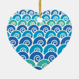Beach Waves Blue Ceramic Ornament
