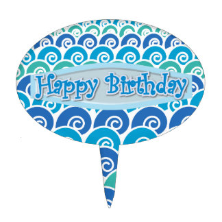 Beach Waves Blue Happy Birthday Cake Toppers