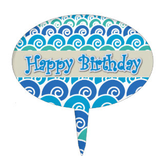Beach Waves Blue Happy Birthday Cake Topper