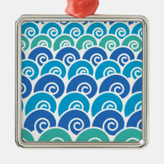 Beach Waves Blue Metal Ornament
