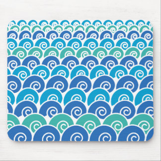 Beach Waves Blue Mouse Pad