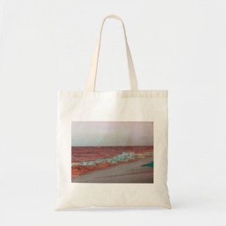 beach waves red teal florida seashore background tote bags