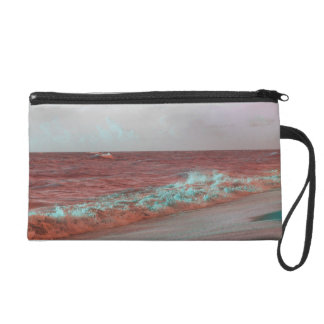 beach waves red teal florida seashore background wristlet purses