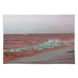beach waves red teal florida seashore background cloth placemat