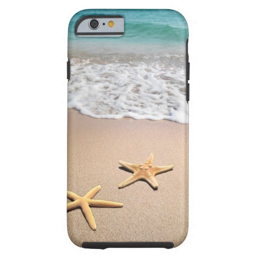 Beach waves, sand and star fish iphone 6 case