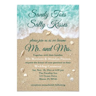 Beach Waves Sandy Toes Salty Kisses Wedding Invite