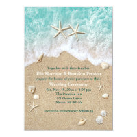 Beach Waves & Starfish Wedding Invitation