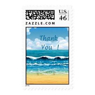 Beach Waves Thank You Postage Stamp