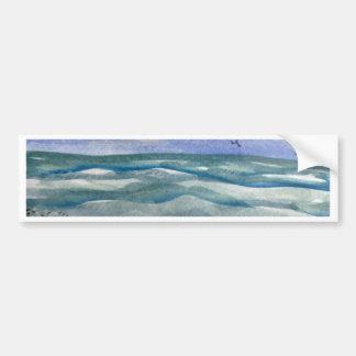 Beach Waves Watercolor Bumper Sticker