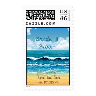 Beach Waves Wedding Save The Date Postage