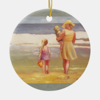 Beach Waves with Children and Mom Christmas Ornament