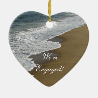 Beach We re Engaged Heart Shaped Ornament
