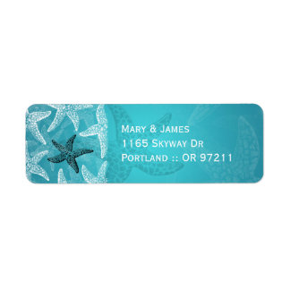 Beach Wedding  Address Starfish Blue Label