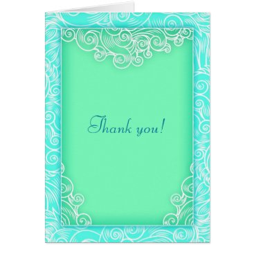 Beach Themed Beach Wedding Aqua and Green Wave Thank You Card