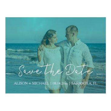 Beach Themed Beach wedding aqua blue save date script photo postcard