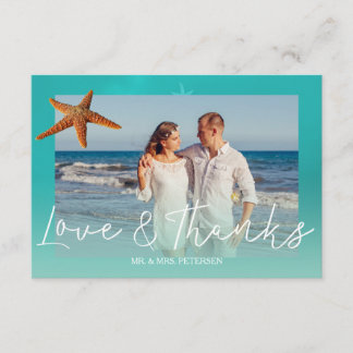 Beach wedding aqua blue starfish  thank you photo