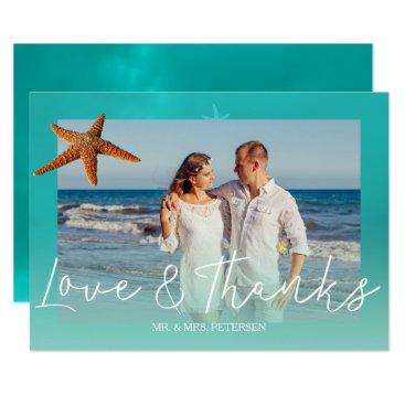 Beach Themed Beach wedding aqua blue starfish  thank you photo card