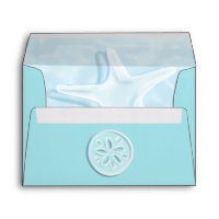 Beach Wedding Aqua Blue Tropical Envelope