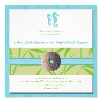 Beach Wedding - Aqua Blue wedding invites